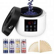 Himaly Hot Wax Warmer Machine Electric Wax Heater with 4 Flavors Hard Wax Beans and 20 Wax Applicator Sticks Hair Removal Waxing Kits Professional for Face,Body,Bikini Area, Legs (Upgraded Version)